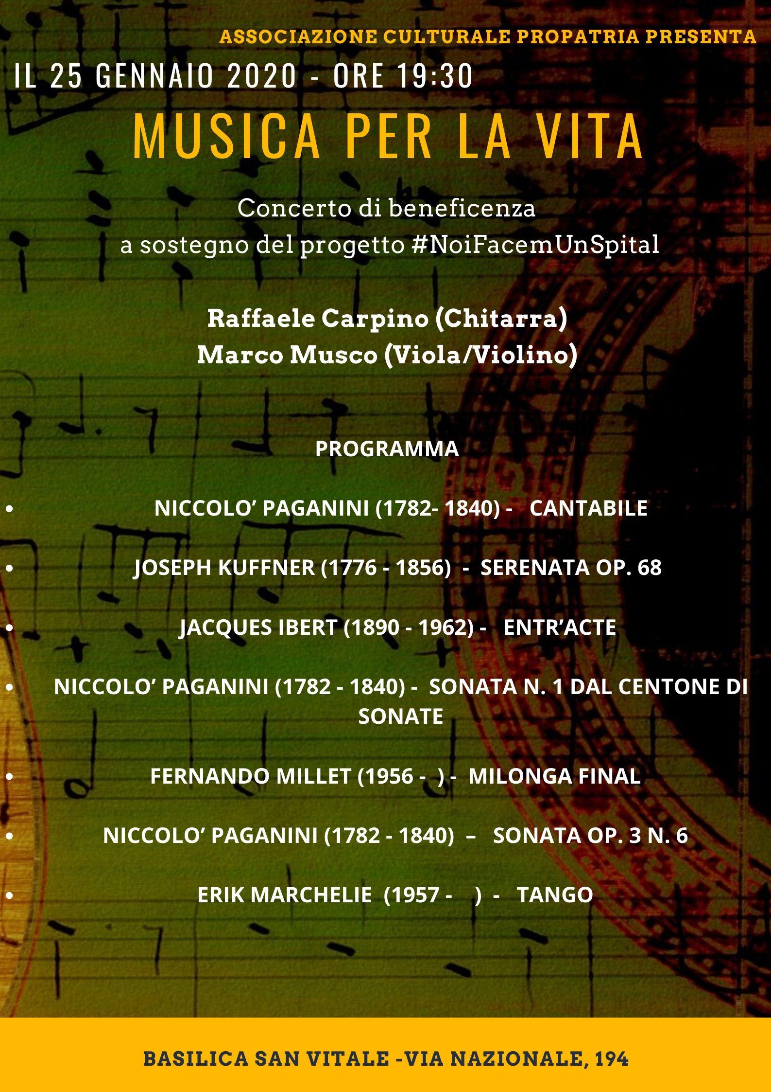 Programma Concerto 25 gennaio